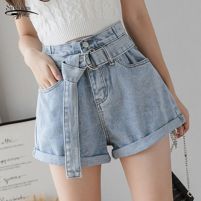 Women's Denim Shorts Vintage High Waist Blue Wide Leg Female Casual Summer Ladies Shorts Jeans For Women Short Femme 8941 50