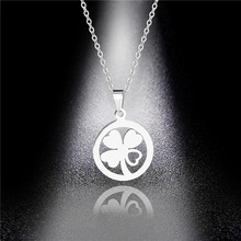 Accessories Clover Necklace Stainless Steel Titanium Steel Four Leaf Clover Pendant Pendant Sweater Chain Factory Direct