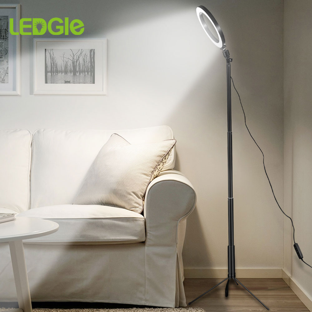 Trépied lampadaire annulaire USB, support de lumière sur pied annulaire 80 s pour la vidéo abat-jour de maquillage pour Photo YouTube