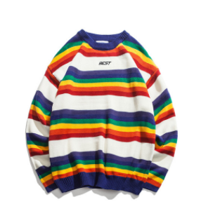 Rainbow Stripe O-neck Pullover Men's Sweater  Winter Letter Embroidery Sweater For Men 2Colors