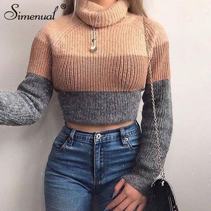 Simenual Turtleneck Knitted Autumn Winter Sweaters Women Long Sleeve Jumper Patchwork Fashion 2019 Casual Basic Pullover Sweater