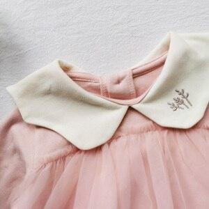 Image 5 - Детское боди, новинка 2020, весенняя одежда для маленьких девочек, детское Сетчатое боди с длинным рукавом и вышивкой на воротнике из чистого хлопка