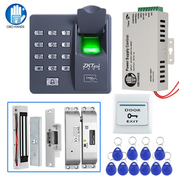 Access Control System Kit Biometric Fingerprint Reader with Magnetic Lock DC12V Power Supply with 10 RFID Keyfobs for Entry Safe