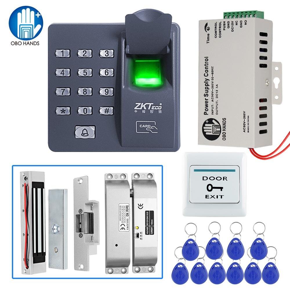 Lecteur biométrique d'empreinte digitale de Kit de système de contrôle d'accès avec la serrure magnétique alimentation de DC12V avec 10 porte-clés de RFID pour l'entrée sûre