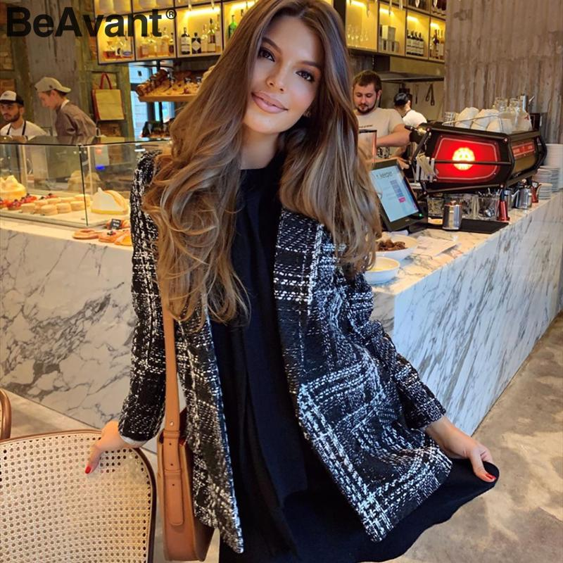 BeAvant Vintage Plaid Women Blazer Coat Long Sleeve V Neck Buttons Autumn Winter Female Blazers Streetwear Ladies Blazer Jackets