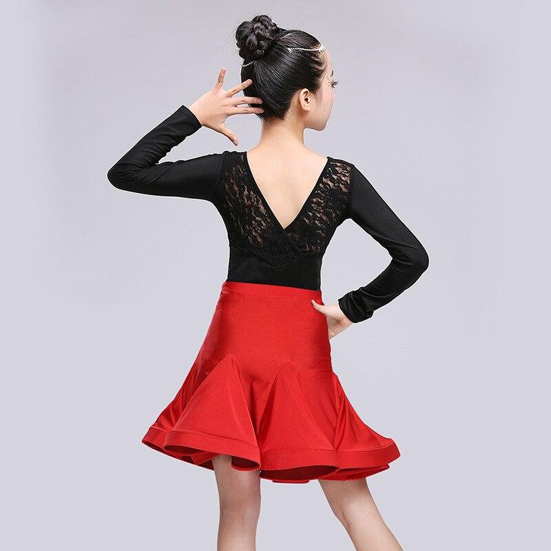 2017 New Style Children Latin Dance Skirt GIRL'S Exercise Clothing Performance Children Latin Dance Clothing Game Performance We