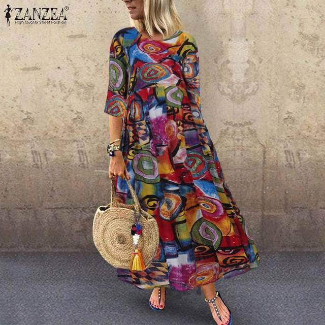 2021 Autumn Summer ZANZEA Pleated Dress Women Vintage Vestidos Robe Printed Long Maxi Dresses Plus Size Femme 3/4 Sleeve Tunic 1