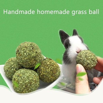 Pet Teeth Grinding Ball Natural Grass Toys For Guniea Pig Rabbit Chinchilla 1