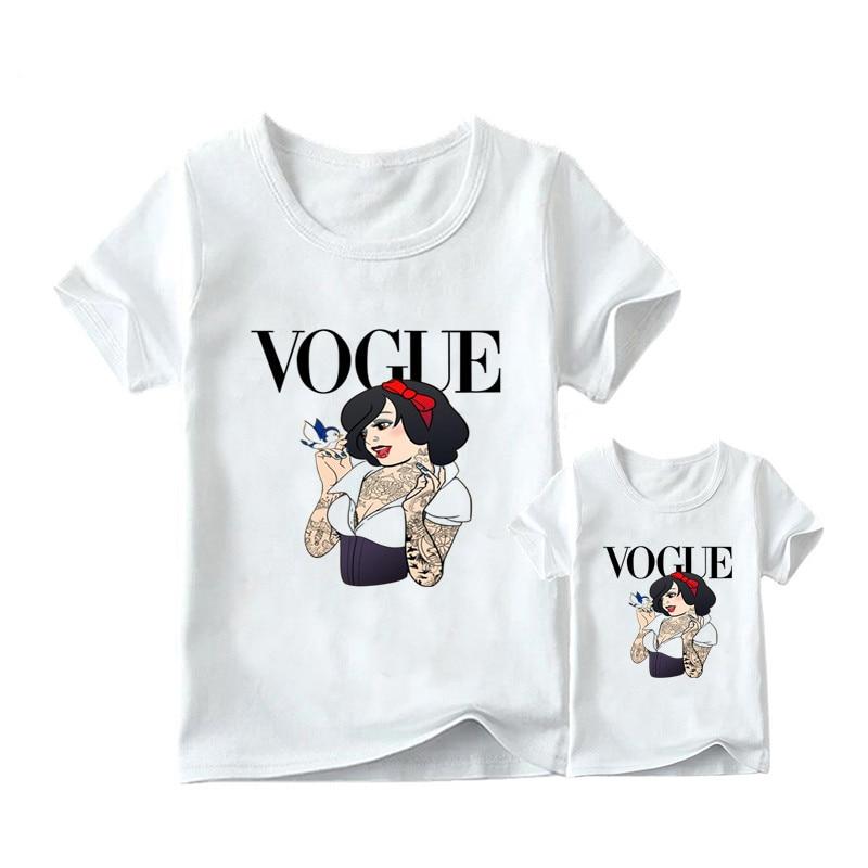 1 предмет, г. Летняя футболка с принтом принцессы в стиле панк модная одежда для мамы и дочки забавная семейная футболка с короткими рукавами - Цвет: 17