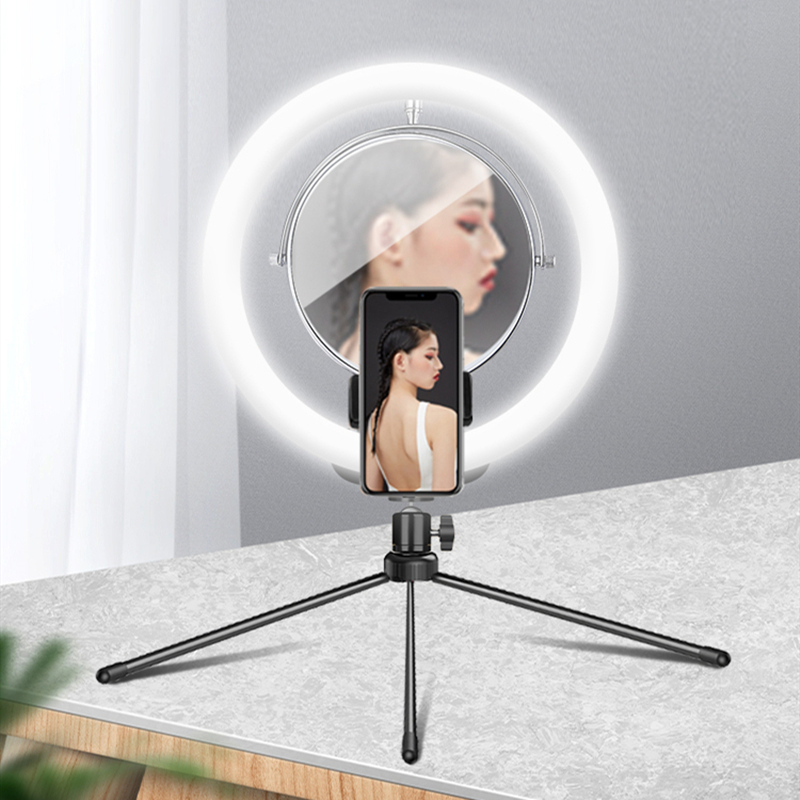 ZGA Mobile phone live stand desktop selfie ring light mirror with photography light 10 inch LED ring light dimming thermostat