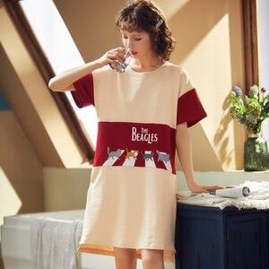 Image 3 - BZEL Fashion Women Night Skirt Spring Leisure Cotton Home Clothes Short Sleeve Nightgown Cartoon Ladies Sleepwear Pijamas Pyjama