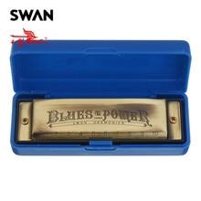 Cisne 10 agujeros 20 tonos Blues C clave armónica de gama alta bronce Color instrumento Musical Woodwind boca órgano Swan Harps