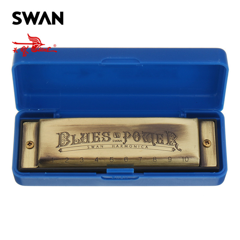 Swan 10 Holes 20 Tones Blues C Key Harmonica High-end Bronze Color Musical Instrument Woodwind Mouth Organ Swan Harmonicas Harps