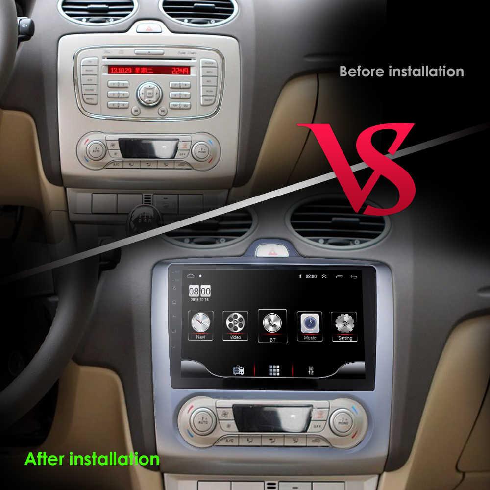 2Din Android 9.0 เครื่องเล่นมัลติมีเดีย GPS สำหรับ Ford Focus EXI MT MK2 MK3 2004-2009 2010 2011 Navigation วิทยุ BT WiFi HEAD UNIT