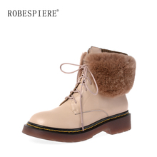 ROBESPIERE New Genuine Leather Snow Boots For Women Winter Warm Plush Real Rabbit Fur Shoes Platform Lace Up Ankle B80