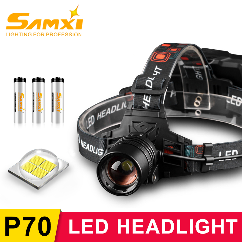 2020 XHP70.2 Rechargeable LED Headlamp Powerful Head Lamp For Caming Fishing With Head Torch LED Flashlight By 3*18650 Battery