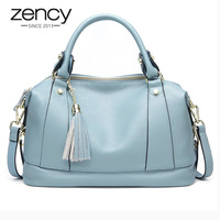 Zency 100% Genuine Leather Fashion Women Handbag Daily Casual Tote Large Capacity Shoulder Crossbody Bag With Tassel Black Blue