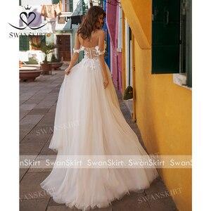 Image 2 - Sweetheart 3D Flowers Wedding Dress 2020 Off Shoulder Tulle A Line Princess Bridal Gown Swanskirt UZ40 Illusion Vestido de Noiva