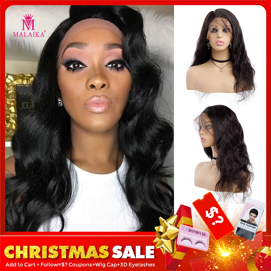 MALAIKA Christmas Human Hair Wigs Lace Wig Full Lace Body Wave Wigs Pre Plucked With Indian Baby Hair Wig For Christmas