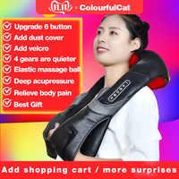 Massager elétrico do rolo do pescoço para a dor nas costas shiatsu lâmpada infravermelha massagem travesseiro gua sha produtos cuidados de saúde do corpo relaxamento