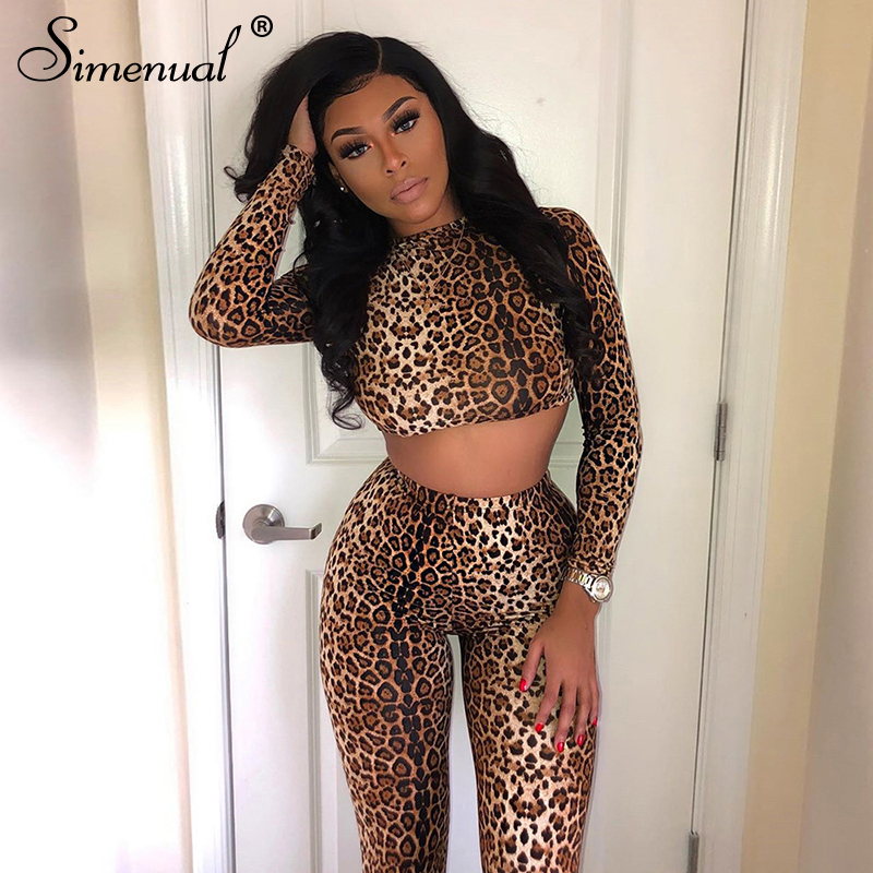 Simenual Fashion Skinny Leopard Women Matching Set Long Sleeve Sporty Workout 2 Piece Outfit Active Wear Crop Top And Pants Sets