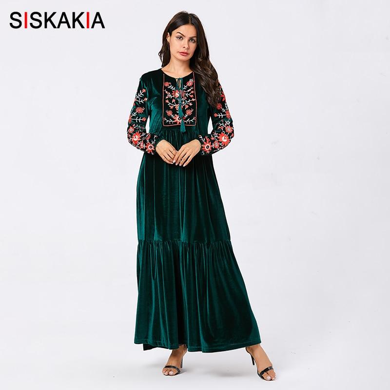Siskakia Velvet Long Dresses For Women Chic Floral Embroidery Ethnic Tassel Drawstring Maxi Dresses Blue Plus Size Fall 2019 New