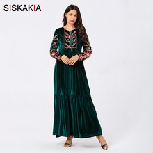 Siskakia Velvet Long Dresses for Women Chic Floral Embroider