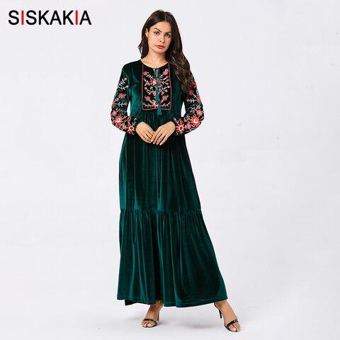 Siskakia Velvet Long Dresses for Women Chic Floral Embroidery Ethnic Tassel Drawstring Maxi Dresses Blue Plus Size Fall 2019 New Pakistan