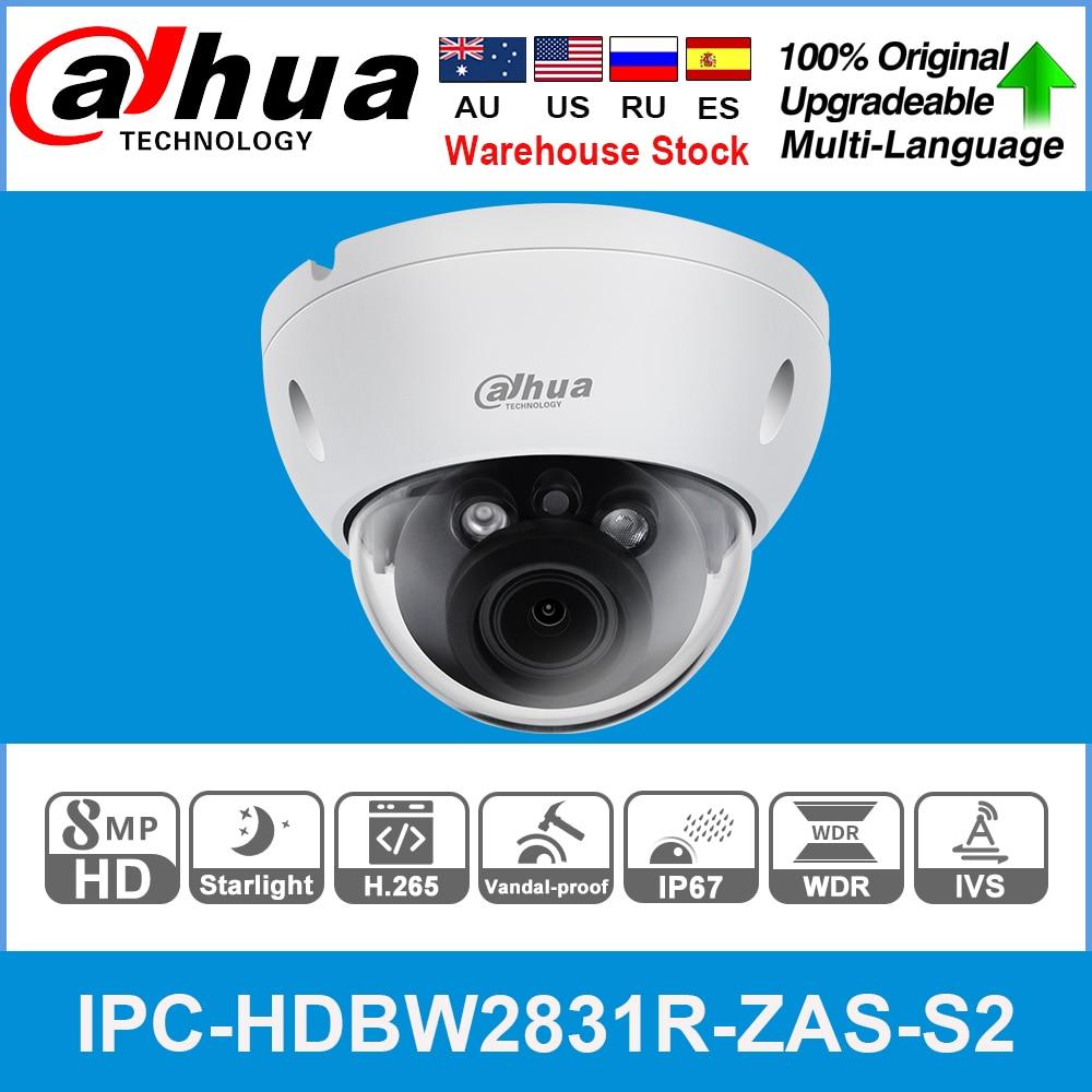Dahua Original IPC-HDBW2831R-ZAS-S2 8MP 4K 5X Zoom POE SD Card Slot Audio Alarm I/O H.265+ 40M IR IVS IK10 Starlight IP Camera