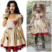 Halloween Costume Voodoo Doll Dress Costumes Wedding Ghost Bride Cosplay for Women Adult Mother & Daughter Anime Girls Vampire
