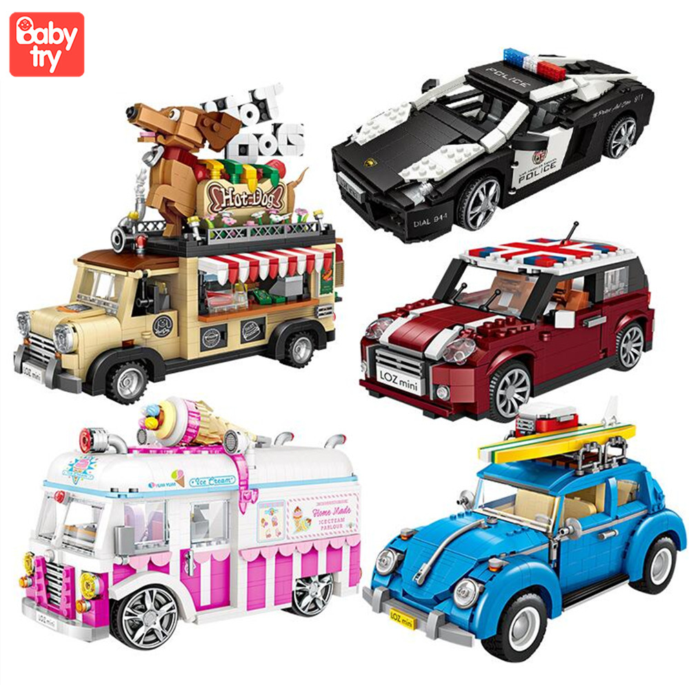LOZ Technic Mini Building Blocks Hot Dog Cart Car Vehicle Assemable Kids Educational Toys For Children Creator Ice Cream Truck