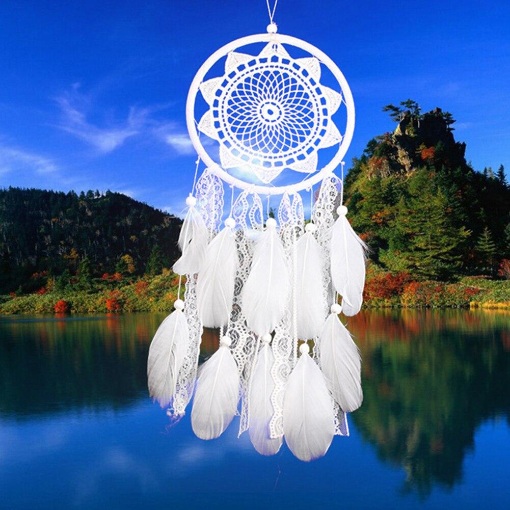 Weiß Traum Catcher Holz Perlen Spitze Blume Anhänger Feder Windspiele Geschenke für Hochzeit Wand Hängen Ornamente