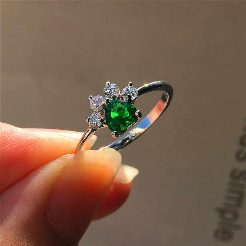 น่ารักหญิงสีเขียวสีฟ้าสีม่วง Zircon แหวนแฟชั่นเงินสุนัข Cat Bear Paw Claw แหวนน่ารัก Wedding Engagement แหวนสำหรับสตรี
