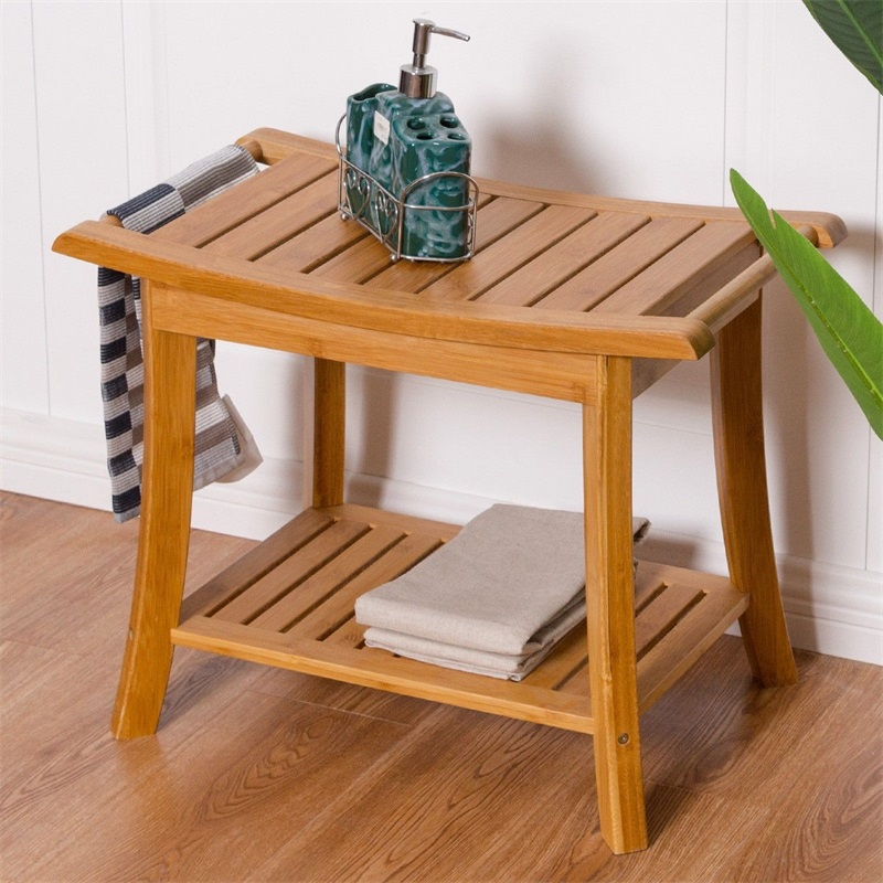 Rectangular Bamboo Bathroom Stool With Storage Shelf  Shower Chair Seat Bench Spa Bath Organizer Stool HW55998
