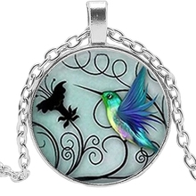 2019 New Blue Hummingbird Necklace Pendant Glass Cabochon Tricolor Bird Jewelry Art