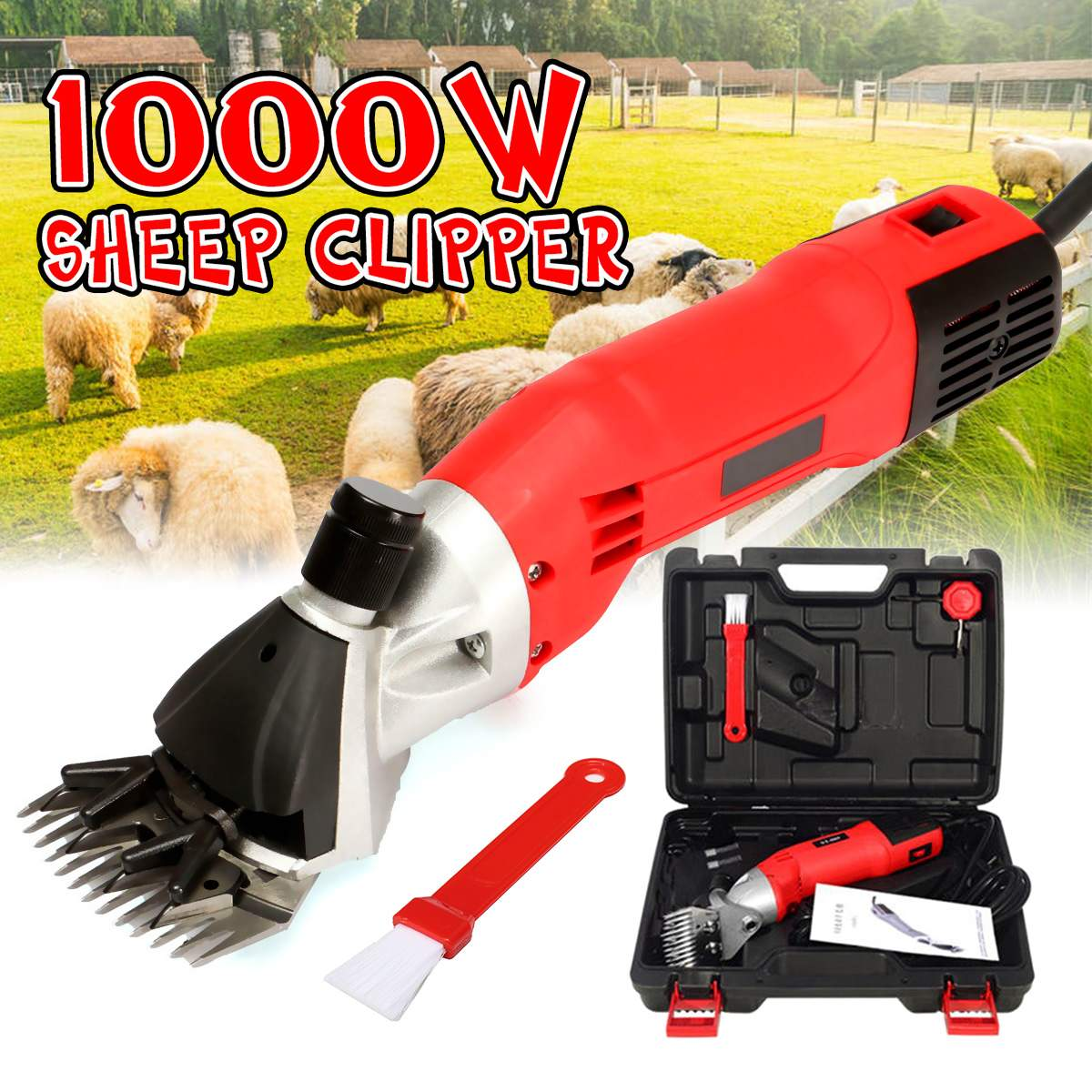 1000W 220V 6 Gears Speed Electric Sheep Goat Shearing Machine Clipper Farm Shears Cutter Wool Scissor Cut Machine With Box