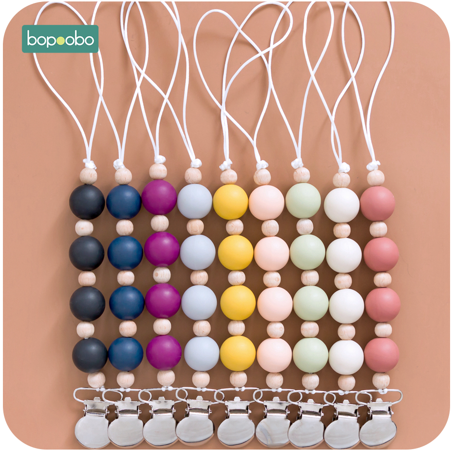 Bopoobo Pacifier Clip Silicone Beads Baby Teether Holder For Nipples Rodent Toys Nursing Tiny Rod Wooden Teether Baby Products