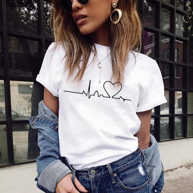 New Women T-shirts Casual Love Printed Tops Tee Summer Female T shirt 2