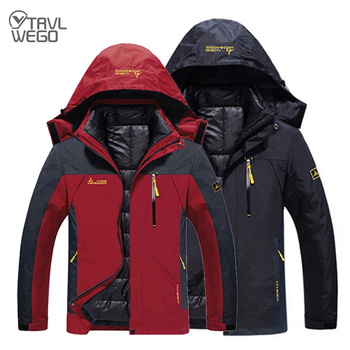 TRVLWEGO Men Winter Camping  Jacket Waterproof Down Ski Thermal Warm Trekking Hiking Camp Climb 3 in 1 Detachable Coat Outdoor