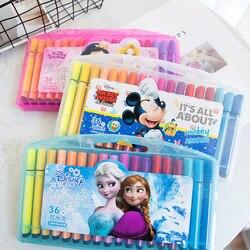 Disney 36 różnych kolorach słodkie watercolored ołówki mrożone księżniczka Mickey student bezpieczeństwa rysunek szkolne prezent dla dzieci na