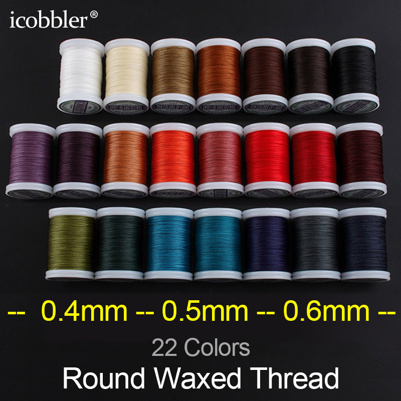 0.4 0.5 0.6mm Round Waxed Thread Polyester Cord Wax Coated Strings for Braided Bracelets DIY Accessories or Leather Craft Sewing