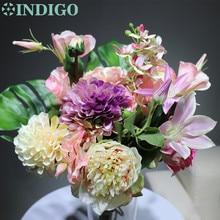 INDIGO -Unique Gift Pink Bouquet Rose Dahlia Arrangement Wedding Table Party Event Centerpiece Free Shipping
