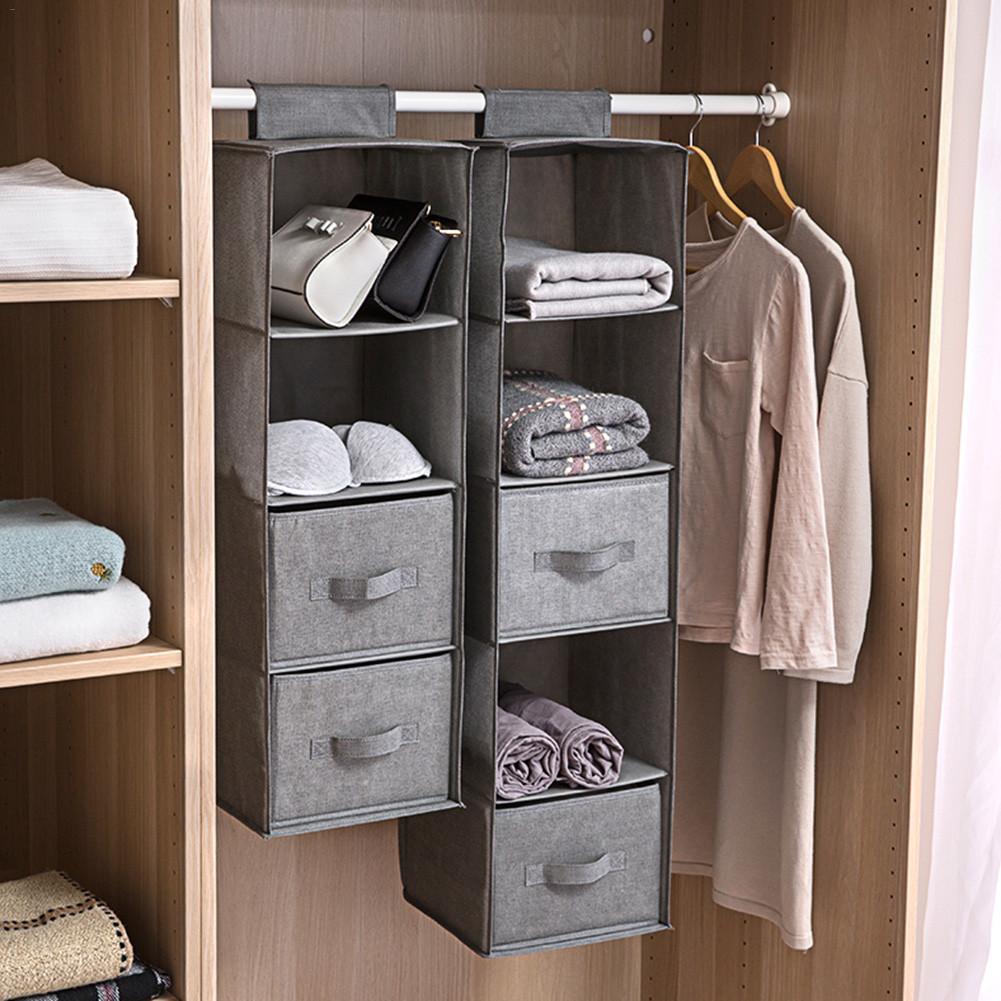 Wardrobe Hanging Storage Bag Interlayer Drawer Type Clothes Hangers Holder Portable Hanging Closet Underwear Organizer