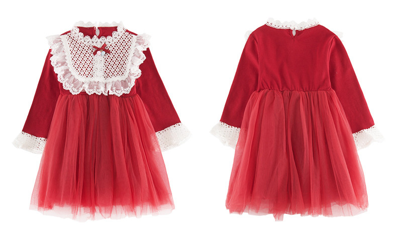 2020 Spring Autumn Teens Kids Cotton Lace Collor Dress for Baby Girls 3-13 years Dress Fashion Cute Long Sleeve Red Mesh Dresses (2)