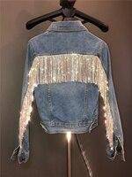 Nueva encriptación Bling borla de diamantes de imitación cadena corto Slim luz solapa azul Denim Chaqueta Mujer Chaqueta de Jean Chaqueta abrigo de Mujer