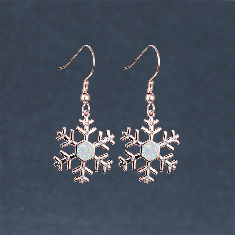White Blue Opal Snowflake Drop Earrings For Women Vintage Fashion Rose Gold/Silver Color Dangle Earrings Christmas Jewelry Gifts