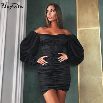 Hugcitar 2019 long puff sleeve slash neck satin pleated sexy mini dress autumn winter women solid party elegant streetwear outfi