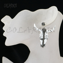 5 pairs pelle bovini orecchini orecchini di goccia pezzi orecchini testa di toro orecchini geometrica gemme accessori per le donne 9426