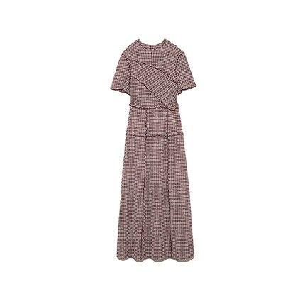 Neploe Chic Wooden Ear Patchwork Pleated Women Dress 2021 Spring Summer Drawstring Vestidos New High Waist Plaid Dresses 1H970 6