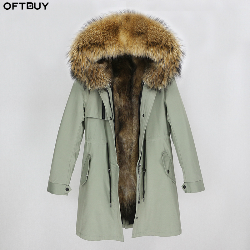 OFTBUY Waterproof Parka Real Fur Coat Winter Jacket Women Natural Raccoon Fur Collar Fox Fur Liner Warm Thick Streetwear Outwear